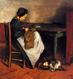 Max Liebermann (1847-1935) – Girl with Cat sewing in a Dutch Interior, 1884
