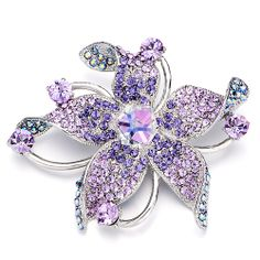 Brooches & Pins - vintage february birthstone purple crystal flower brooches and pins Image.