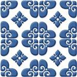 """Bonne Relevé- Decorative Tile Porcelain Tile- Blue On White 8"""" x 8"""""""
