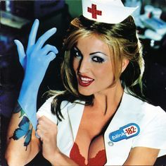 Take your sexy nurse costume to the next level with this '90s reference! To dress as the nurse on Blink-182's Enema of the State album cover (porn star Janine Lindemulder), you're going to need fake butterfly tattoos, a nurse outfit, a red bra, and a rubber glove.
