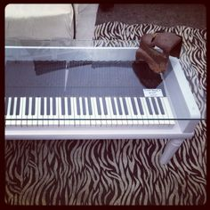 repurposed piano | ... The seller uses old piano keys in coffee tables and tops with glass