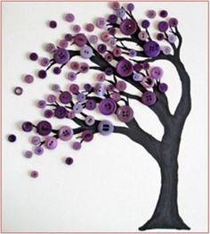 Blog conseil - boutique vêtements pas cher - Le ideea de base est de faire un arbre texture brillante en utilisant les boutons de couleur pour créer le feuillage. Vous avez besoin : Peinture noire Carton b