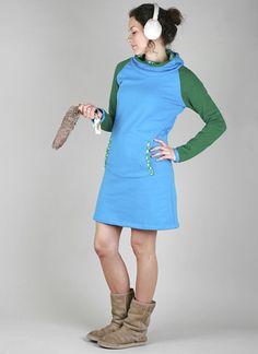 Kapuzenkleider - Kleid grün-türkis - ein Designerstück von -byme- bei DaWanda