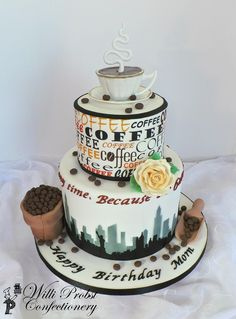 Coffee themed birthday cake with fondant decor and edible print and airbrushing