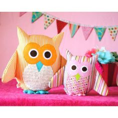 Owl Softie stuffed toy owls  PDF Downloadable Pattern Download sewing Patterns for kids and babies AllegroDigiPatterns AllegroFabrics