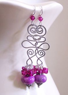 Gemstone Earrings Pink Earrings Agate Fuchsia by Fanceethat, $22.00 on esty.com