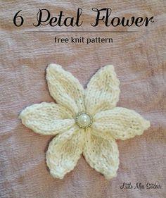 6 Petal Knit Flower Free Pattern
