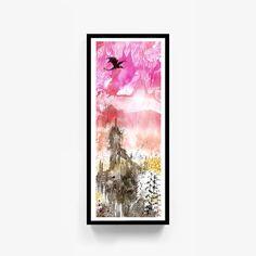 "Printable Original Watercolor Artwork, ""Beyond Here"", Digital Print, Abstract Wall Art, Fantasy Decor, Dragon Art, Digital Download by RobertWenteArtworks on Etsy"