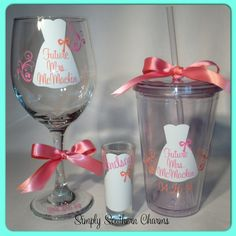 1 Bride or Bridesmaid Gift Set Wedding by SimplySouthernCharms, $28.50 Monogram Gifts, Personalized Gifts, Handmade Wedding Gifts, Mason Jar Wine Glass, Happily Ever After, Bridesmaid Gifts, Wedding Engagement, Bridal Shower, Event Ideas