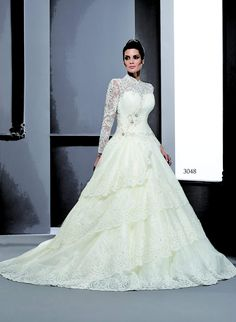 Style T3048 - Tiered Winter Wedding Dresses with Modest Long Sleeves for church