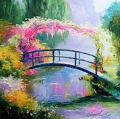 Olha Darchuk The ridge On The Pond Monet Monet Paintings, Nature Paintings, Landscape Art, Landscape Paintings, Bridge Painting, Art Asiatique, Beautiful Paintings, Impressionism, Fine Art America