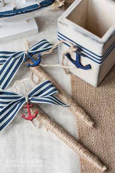 Nautical Guest Book Pen - anchor, bow, rope - beach wedding nautical  Pen for Guest Book  - Personalized on Etsy, $23.00