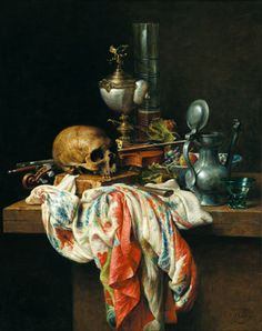 Vanitas Still Life Vanitas Paintings, Old Paintings, Memento Mori Art, Vanitas Vanitatum, Occult Art, Dutch Painters, Still Life Art, Old Master, Contemporary Paintings