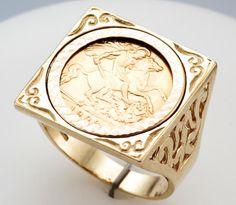 1909 EDWARD VII HALF SOVEREIGN COIN RING - Attenborough Pawnbrokers & Jewellers