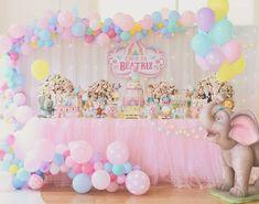 Birthday Party Girl Unicorn Cake Ideas 36 Ideas For 2019 Dumbo Birthday Party, Carousel Birthday, Carousel Party, Carnival Birthday Parties, Circus Birthday, Baby Girl Birthday, Unicorn Birthday Parties, Birthday Party Decorations, Cake Birthday