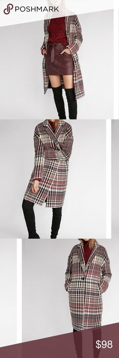 Express plaid coat (Runs big so could probably fit Size 8- to possibly 14) From site: With rounded shoulders and an easy, boxy shape, the luxe cocoon coat has been a fashion obsession for generations. Embrace its classic style with a modern, sculptural version that's all about clean lines, retro color and cozy texture. Notch lapels, one button front Long sleeves; Slant hand pockets Textured fabric; Partially lined Straight hem Polyester/Wool Express Jackets & Coats