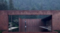 ukrainian architects sergey makhno and alexander kovpak\'s 160 sqm guesthouse is made of concrete, weathering steel, glass and water.