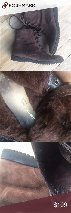Salvatore Ferragamo suede flat ankle boots Brown suede Salvatore Ferragamo booties and lace-up closures in great condition, furry inside, genuine leather. Size 7 B Salvatore Ferragamo Shoes Ankle Boots & Booties