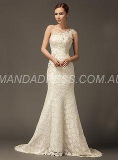 amandadress.com.au SUPPLIES All Sizes Spring Natural Lace Chic & Modern Sleeveless Summer Sweep/Brush  Wedding Dress Sexy Wedding Dresses (2)