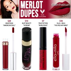 "Dose of Colors Merlot Liquid Lipstick Dupes I have another Dose of Colors dupe to share with all of you. The next shade up on the dupe list is ""Merlot"" a cool. Nyx Cosmetics, Dupes Nyx, Blush Dupes, Lipstick Dupes, Lipstick Colors, Liquid Lipstick, Lip Colors, Lipsticks, Makeup Kit"