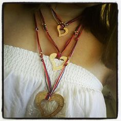 Collar Triple corazon . Bisuteria