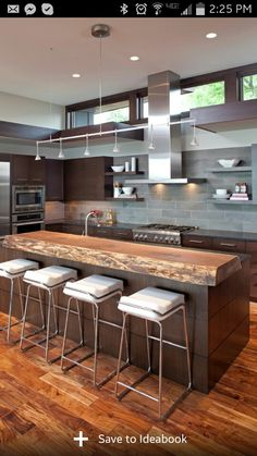 A collection of 17 extraordinary contemporary kitchen designs with an aim to help you choose the best fitting kitchen design for your contemporary home. New Kitchen, Kitchen Dining, Kitchen Decor, Kitchen Ideas, Kitchen Designs, Rustic Kitchen, Wood Countertops, Wood Cabinets, Beige Cabinets