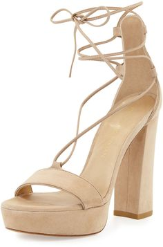 Stuart Weitzman Wrap-It Suede Chunky-Heel Sandal, Beach - Click link for product details :)