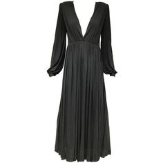 1970s Yves Saint Laurent black jersey V neck dress ($1,835) ❤ liked on Polyvore featuring dresses, sexy jersey dresses, plunge-neck dresses, v-neck jersey, v neck jersey and sexy dresses