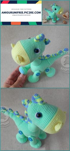 21 New Crochet Amigurumi Dinosaur Crochet Dinosaur Patterns, Crochet Patterns Amigurumi, Crochet Toys, Amigurumi Toys, Baby Blanket Crochet, Crochet Baby, Free Crochet, Knitted Teddy Bear, Crochet Flowers