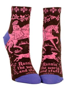 Wear Runnin' The World And Stuff Unicorn Socks for women and show you can be laid back, magical, and rule your kingdom all at the same time. Sassy socks for women who get the job done.and make it look effortless. By Blue Q. Crazy Socks, Cool Socks, Awesome Socks, Cologne, Blue Q Socks, Brown Socks, Thing 1, Short Socks, Ankle Socks