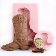 Cowboy Boot Silicone Mold Set - Food Safe Mold for Fondant, Chocolate, Ice, Gum Paste, Candy flexible mould easy to use.. $13.00, via Etsy.