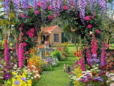 Bela casa Flower Gardens surpreendente Decoração Idéias de decoração - 428844 Flor, Casa de campo, grama, gato, flor, Jardim Bela Flor, bonito, jardim, bonito, jarda