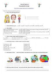 English worksheet: Horrid Henry´s household chores