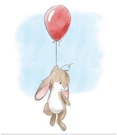 Little Bunny and Balloon Watercolor nursery illustration of a brown bunny hanging onto a red balloon. Little Bunny and Balloon Wall Art by Circle Kids is an adorable way to add art to your nursery. Find more adorable animal art at Great BIG Canvas. Art And Illustration, Ballon Illustration, Cute Animal Illustration, Easter Illustration, Animal Illustrations, Bunny Painting, Bunny Drawing, Bunny Art, Nursery Drawings