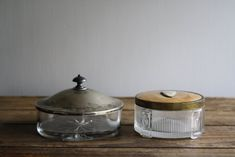 vintage glass cosmetic powder boxes by littlebyrdvintage on Etsy, $28.00