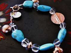 Bracelet Blue Turquoise Rose gold toggle clasp by ArtsyAnnas, $200.00