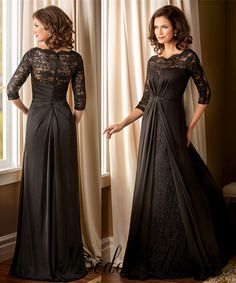 971d6329b25 Elegant Long Black Mother Of The Bride Lace Dresses With Sleeves 2016 Bride  Mothers Evening Dresses