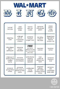 WalMart Bingo card