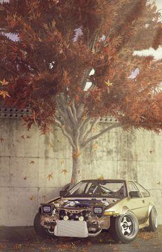 Toyota Corolla AE86 Sprinter Trueno by Andrea Brivio, via Behance