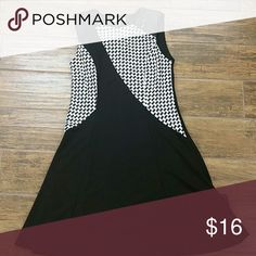 Dress Black and white sleeveless dress a-line with leather on shoulders young threads Dresses Asymmetrical