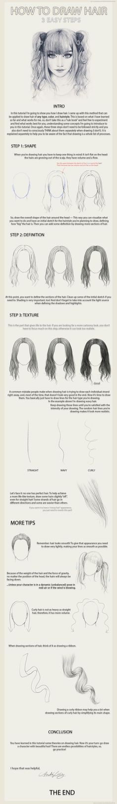 3 Easy Steps to Draw Hair by AndreLuizBarbosa on deviantART:
