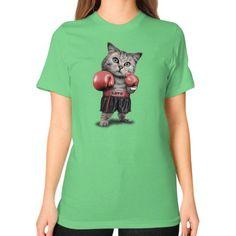 BOXING CAT Unisex T-Shirt (on woman)