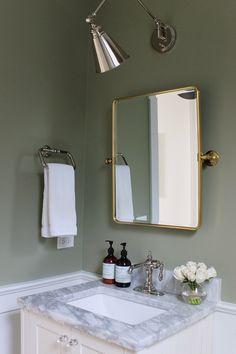 Our Powder Room: Painting the Walls Sage Green - Elizabeth Street Post Green Bedroom Walls, Sage Green Bedroom, Sage Green Walls, Green Accent Walls, Green Rooms, Sage Green Paint, Green Bathroom Paint, Bathroom Colors, Bathroom Interior