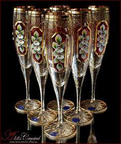 Bohemia Crystal, Bohemia Glass, Crystal Champagne, Champagne Glasses, Cut Glass, Glass Art, Decorated Wine Glasses, Antique Glassware, Crystal Glassware