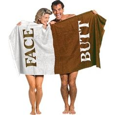 The Butt Face Towel. The Butt Face Towel adds a moment of clarity to your gift-giving. It ends any possible confusion about which side to use! Stupid Inventions, Awesome Inventions, Awesome Gadgets, Funny Gifts For Men, Jamel, Face Towel, White Elephant Gifts, Elephant Party, Gag Gifts