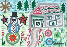 """Funky Winter"" - - Original 5"" x 7"" heARTwork by Susan Schanerman"