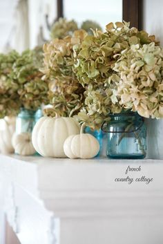 Easy Autumn Decorating~ Blue jars and dried hydrangeas on the mantel - French Country Cottage Fall Mantel Decorations, Thanksgiving Decorations, Seasonal Decor, House Decorations, Thanksgiving Ideas, Fall Home Decor, Autumn Home, Autumn Mantel, Blue Fall Decor