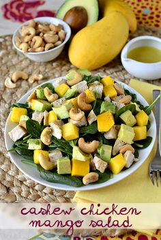 Cashew Chicken Mango Salad is a hearty, healthy salad recipe drizzled with homemade Honey-Lime Vinaigrette. Healthy Salad Recipes, Paleo Recipes, Cooking Recipes, Dinner Recipes, Clean Eating, Healthy Eating, Honey Lime Vinaigrette, Mango Salat, Cashew Chicken