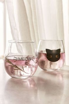 Meow Stemless Wine Glass Set - Urban Outfitters: cute gift for cat lovers.