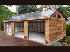 Garage Mont-Blanc sur mesure - 5.50 x 9.00 m Plan Garage, Garage Exterior, Carport Garage, Carport Designs, Garage Design, House Design, Timber Garage, Modern Garage, Backyard Sheds